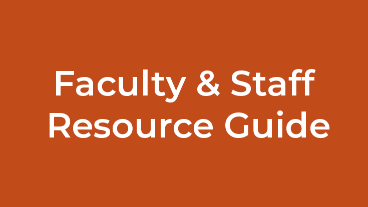 Faculty and Staff Resource GUide text on an orange background